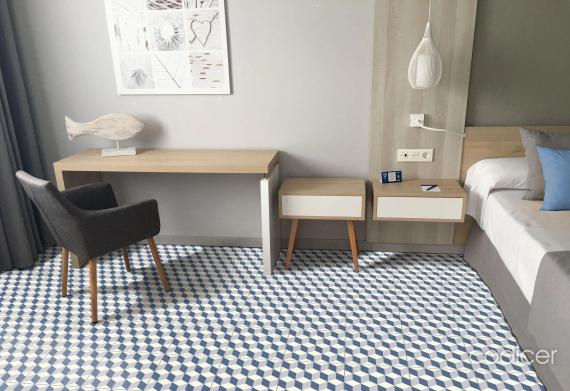 Riviera Antibes Blue Tile bathroom floor tile