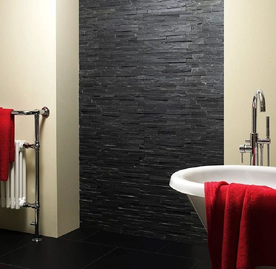 black slate splitface tile