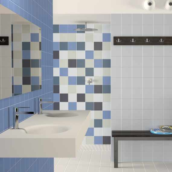 Colourful wall and floor tiles