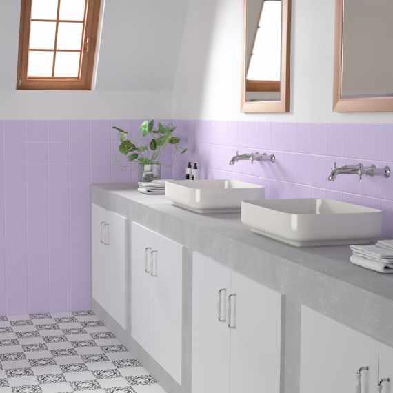 Colourful wall and floor tiles Rainbow Lila 150 x 150 mm Tile