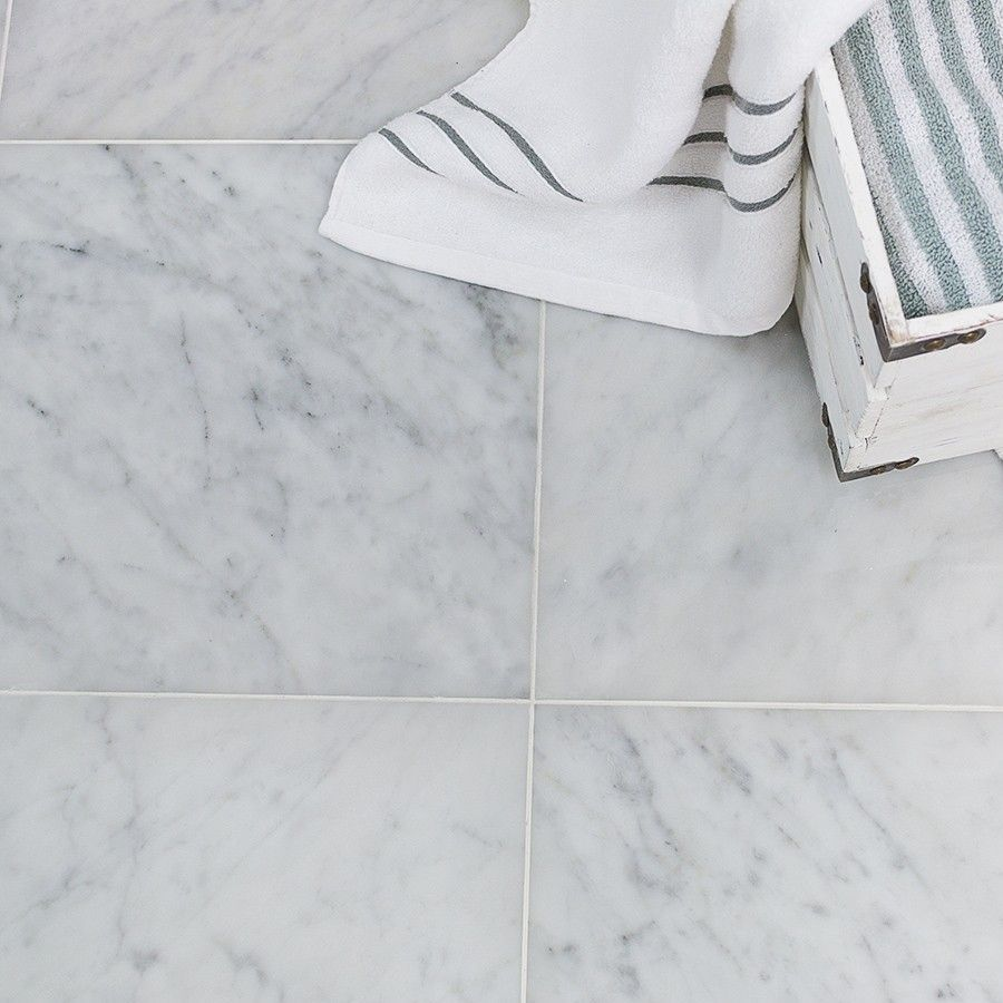 Carrara Bianco Honed Marble Tile