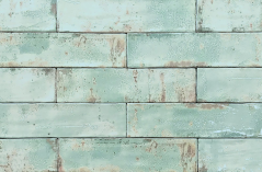 Handmade Dishevelled Aqua Blue wall tile