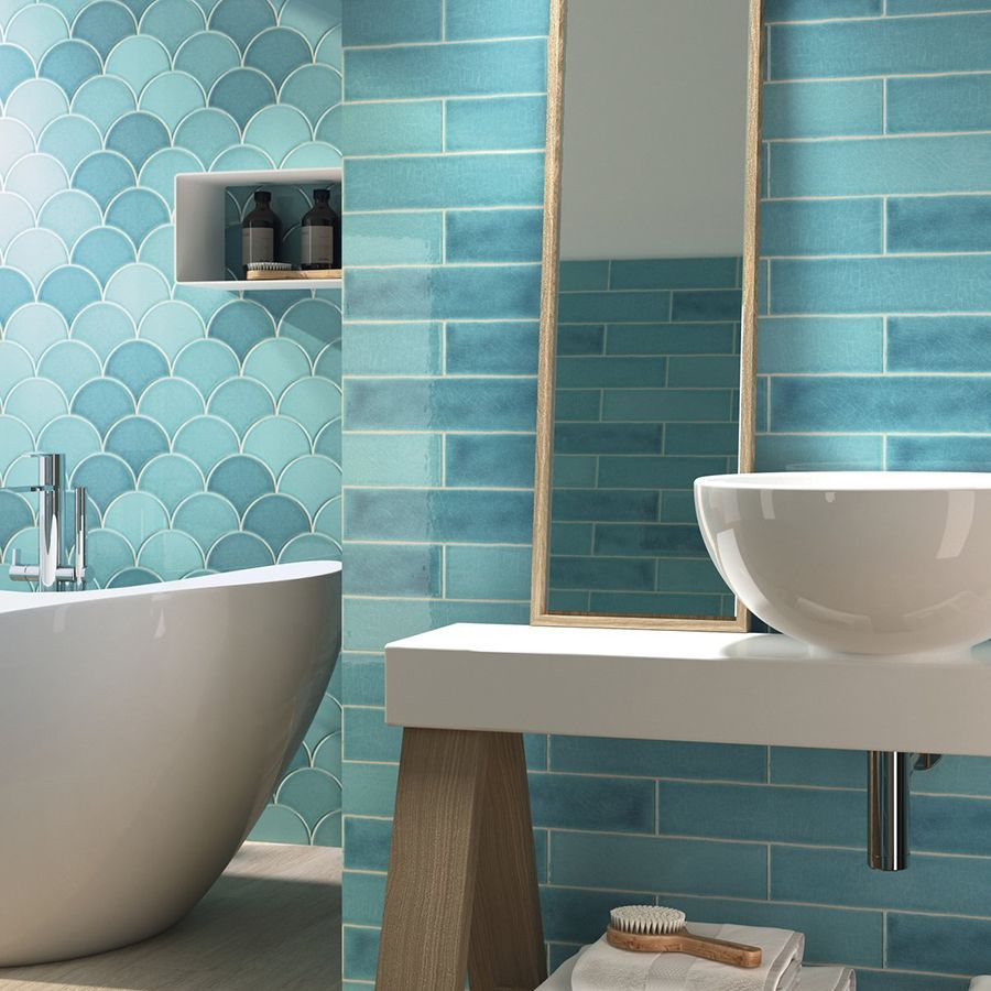 Handmade Crackle Turquoise Waters Escamas Wall Tile