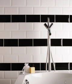 Metro Black and white Wall Tile Metro Black Wall Tile For bathrooms and kitchens
