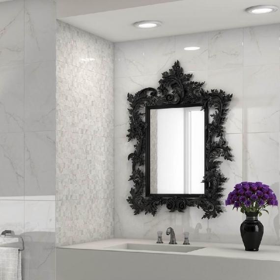 Corinto Blanco Wall and Floor Bathroom Tile by saloni