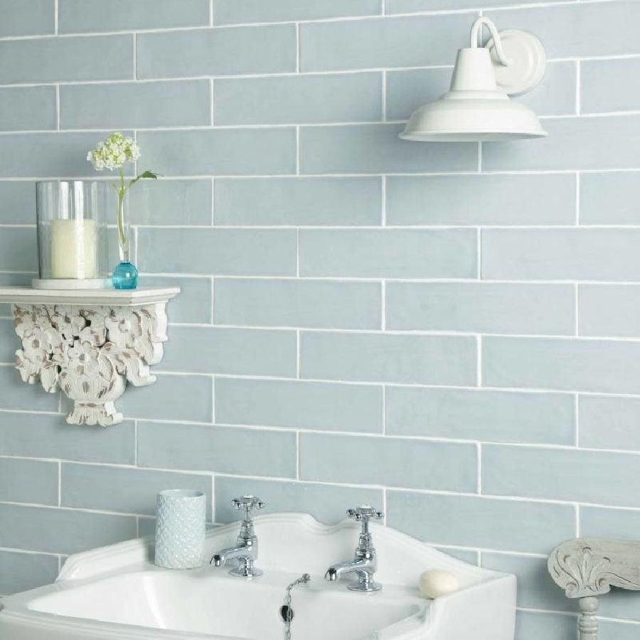 Handmade Duck Egg Ceramic Wall 75x300mm bathroom tiles