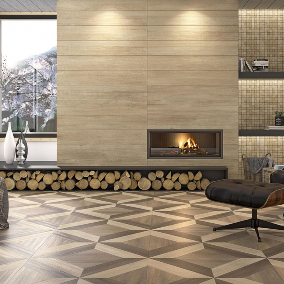 Home Wengue Wood Effect Wall and Floor Tile