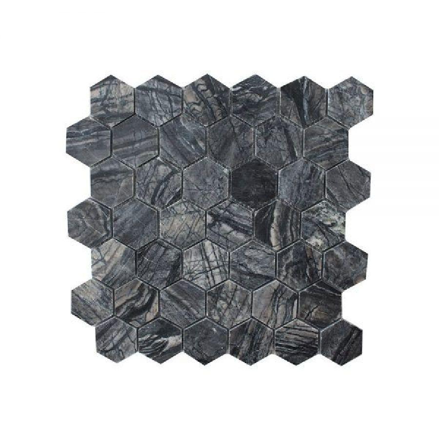 Zebra Polished Hexagon Marble Mosaic Tile