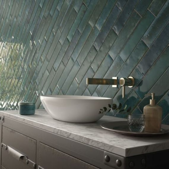 Hope Blue Gloss Ceramic Wall 75x300mm