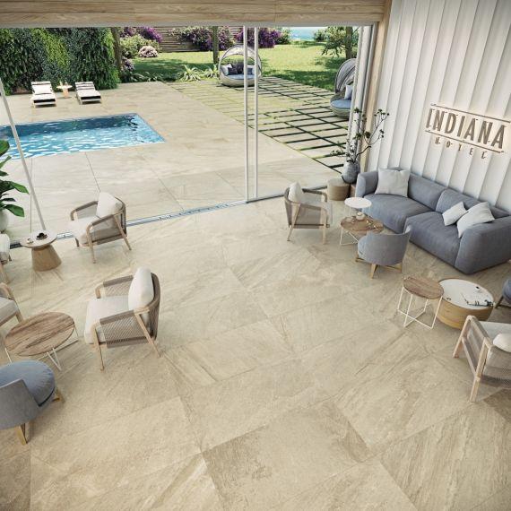 Indiana Beige Stone Effect Floor Tile